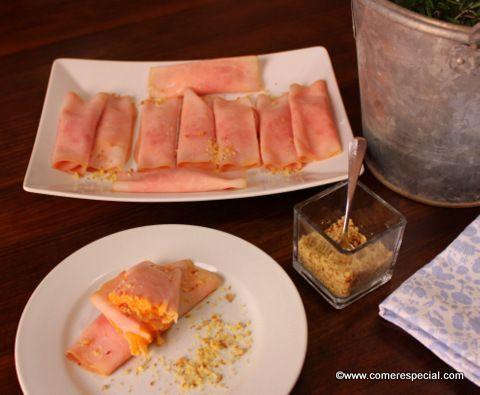 Receta para una cena fácil con rollitos de jamón cocido y dip de zanahorias