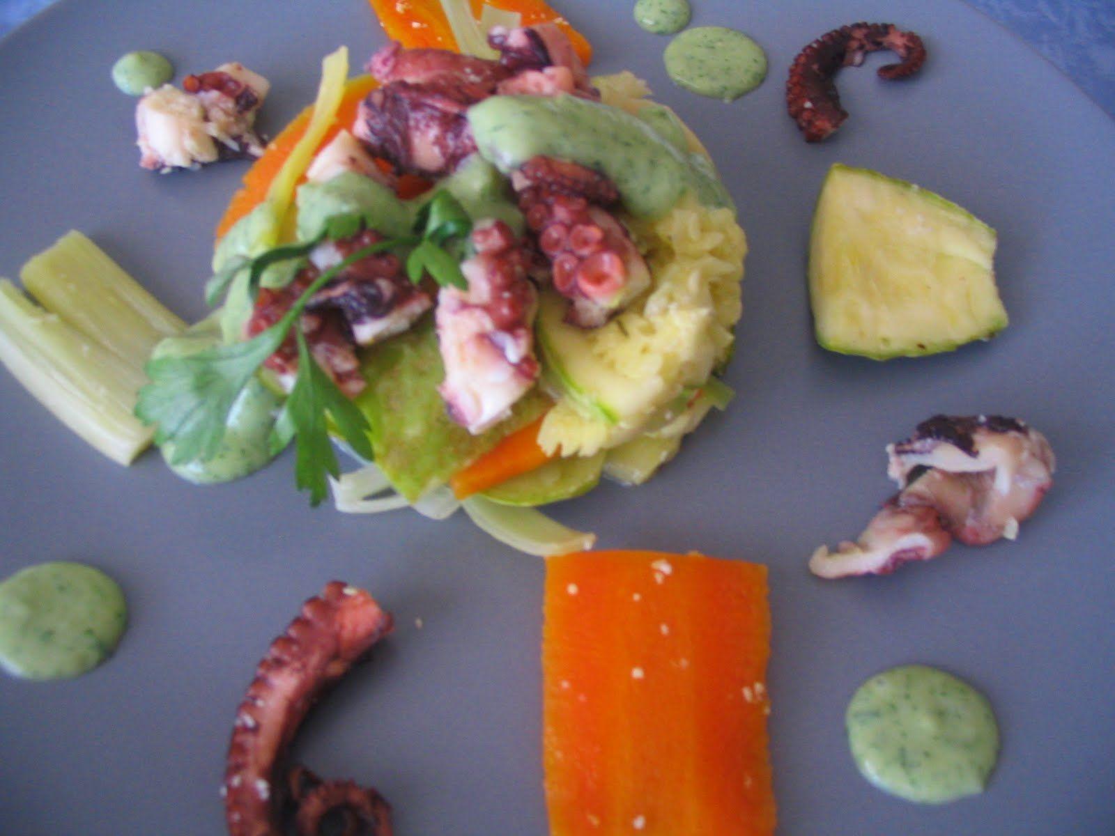 Receta de pulpo con verduras