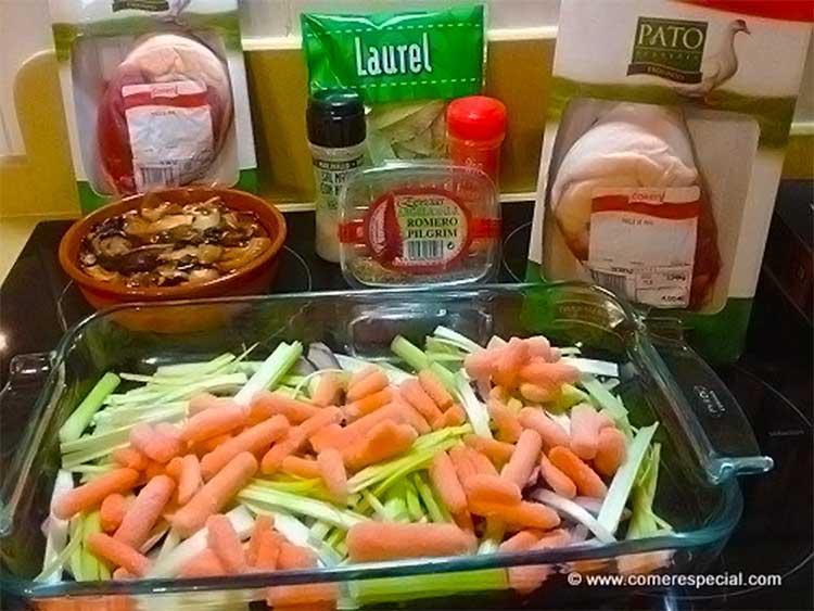 Ingredientes para preparar muslo de pato con salsa de arándanos
