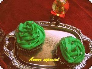 Cupcakes de menta y chocolate para Navidad