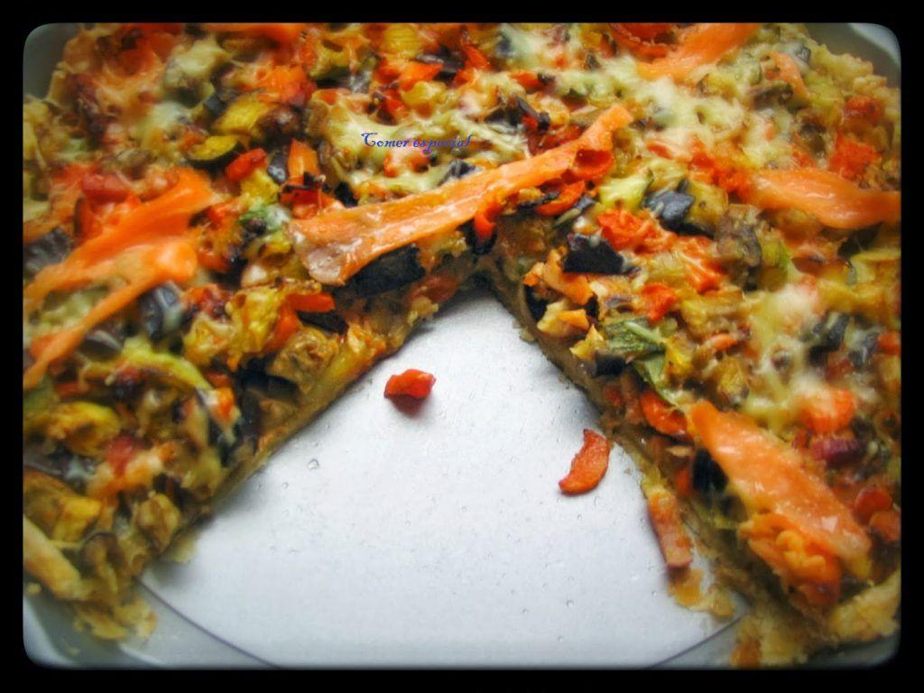 Receta sencilla de quiche de salmón y verduras sin lactosa