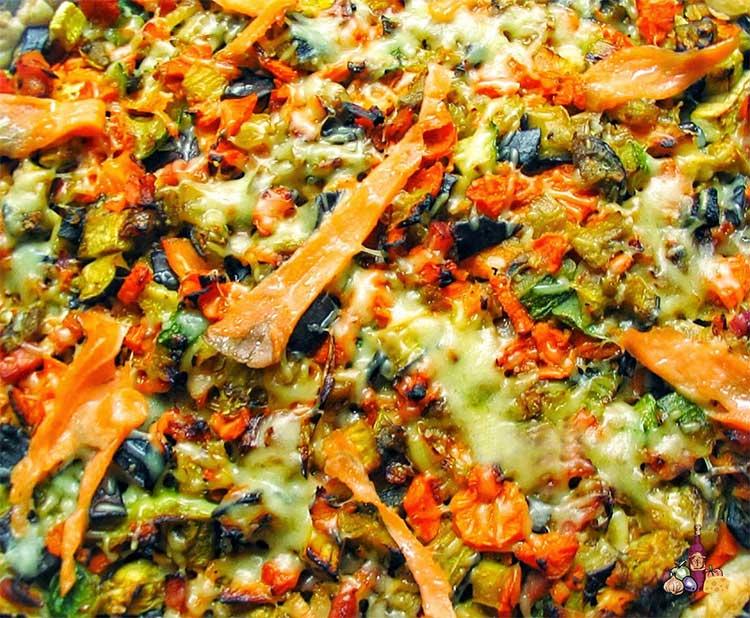 Quiche de verduras y salmón