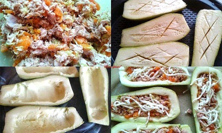 Preparación de calabacines rellenos de atún y verduras