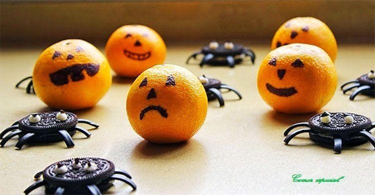 Galletas araña y mandarinas calavera para Halloween