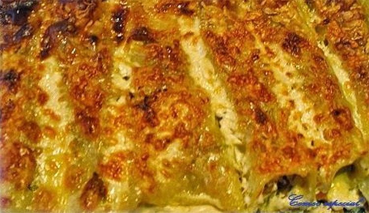 Canelones de verduras y bacón para intolerantes a la lactosa