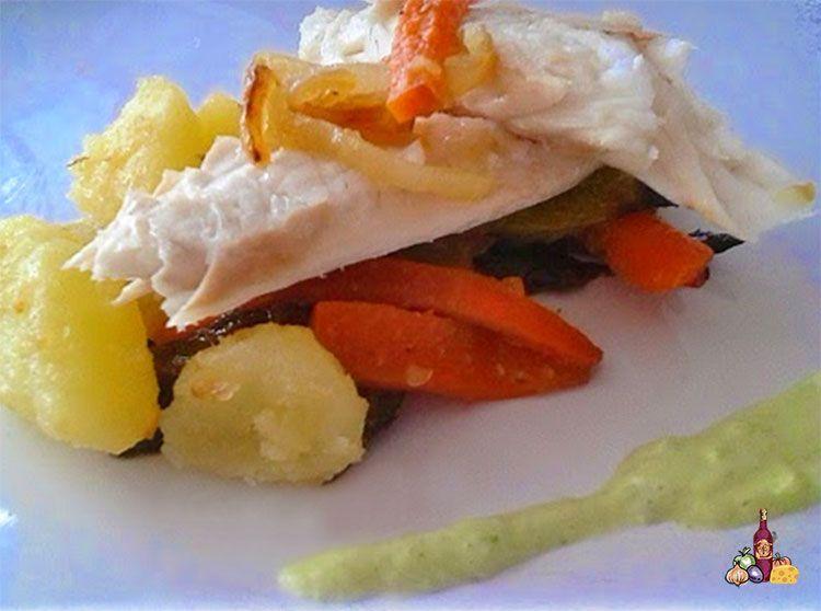 Lubina al horno con verduras
