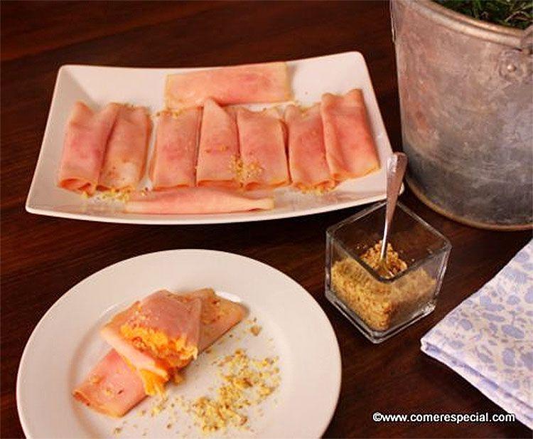 Rollitos de jamón cocido con vegetales