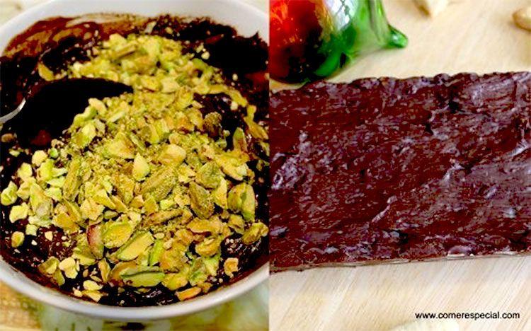 Deliciosa receta de turrón de chocolate sin lactosa y con pistachos